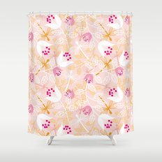 Flowers and dragonfly on blush Shower Curtain
