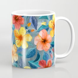 Colorful Watercolor Hibiscus on Grey Blue Coffee Mug