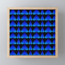 Alternating pattern of blue hearts and stripes on a black background. Framed Mini Art Print