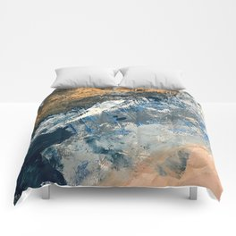 Wander [3]: a vibrant, colorful abstract in blues, pink, white, and gold Comforters