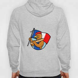 French Eagle Holding Flag and Baguette Cartoon Hoody