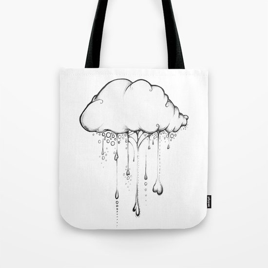 Happy Cloud Drawing, Cute Whimsical Illustration Tote Bag