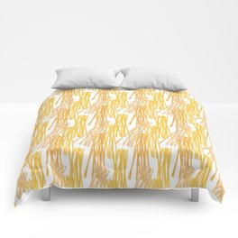 Modern sunshine yellow orange white abstract pattern Comforters