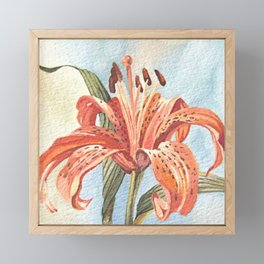 Orange Tiger Lily Watercolor Painting Framed Mini Art Print