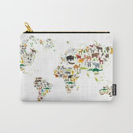 Cartoon animal world map for children and kids, Animals from all over the world on white background Carry-All Pouch