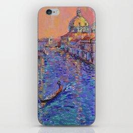 Sunset Over The Grand Canal In Venice -palette knife urban city landscape by Adriana Dziuba iPhone Skin