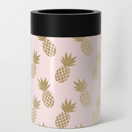 Pink & Gold Pineapples Pattern Can Cooler