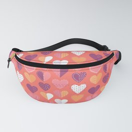 Living Coral Patch Boro Embroidery Hearts Fanny Pack