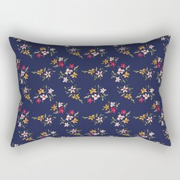 Vintage Inspired Navy Floral Bouquets Rectangular Pillow