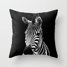 Zebra Black Throw Pillow