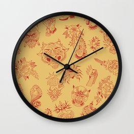 TRADITIONAL TATTOO PATTERN (COLORED) Wall Clock