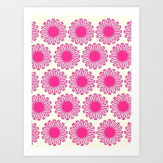 vintage flowers pink  Art Print