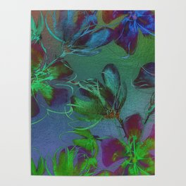 Jewel Toned Flowers Poster