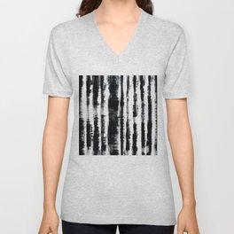 Tie-Dye Shibori Stripe BW Unisex V-Neck