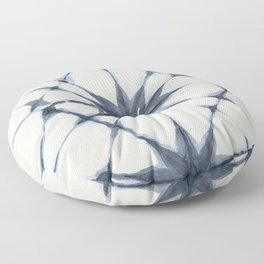 Shibori Starburst Indigo Blue on Lunar Gray Floor Pillow