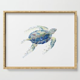 Lone Sea Turtle Watercolor  Serving Tray