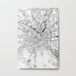 Milan White Map Metal Print