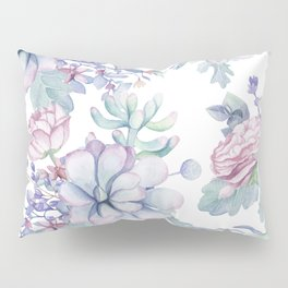 Pretty Blue Pink Succulents Garden Pillow Sham