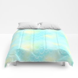 Mint Blue and Yellow Mermaid Tail Abstraction. Magic Fish Scale Pattern Comforters