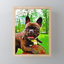 french bulldog basketball vector art Framed Mini Art Print