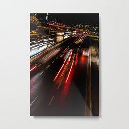 Street night traffic in Izmir (Turkey) Metal Print