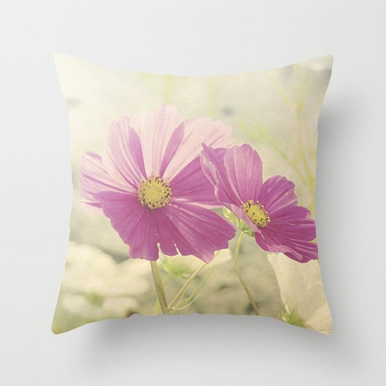 Vintage Cosmos in the Sun Throw Pillow