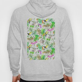 Rainforest Friends - watercolor animals on textured teal Hoody
