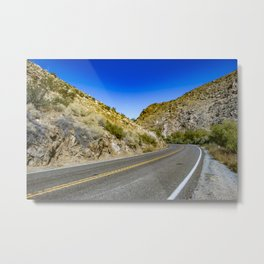 Highway Road Cutting through the Mountains in the Anza Borrego Desert, California, USA Metal Print