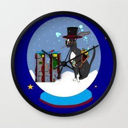 A Snow Globe Steampunk Kitty with Stars Wall Clock