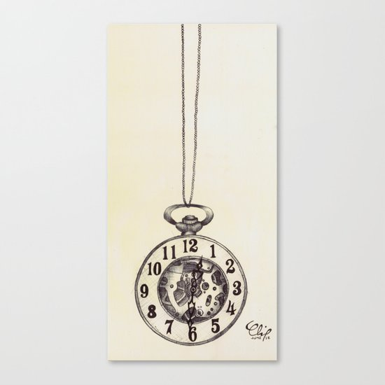 Ballpoint Pen, Half Hunter Pocket Watch Canvas Print