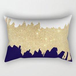 Modern navy blue white faux gold glitter brushstrokes Rectangular Pillow