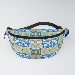 Seamless Floral Pattern Ornamental Tile Design : 6  blue, yellow Fanny Pack