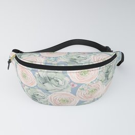Flowers And Succulents Light Blue Fanny Pack