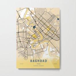 Baghdad Yellow City Map Metal Print