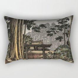 Tsuchiya Koitsu - Nikko Futarasan Temple - Japanese Vintage Woodblock Painting Rectangular Pillow