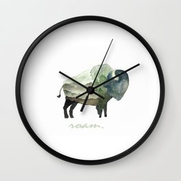 Buffalo Bison / Roam Wanderlust Adventure Travel / Rustic Woodland / Nursery / Gift / Watercolor Wall Clock