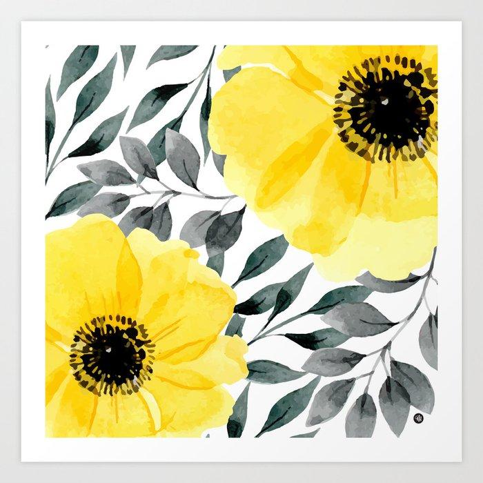 Big yellow watercolor flowers Art Print