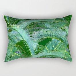 ABSTRACTED BLUE-GREEN TROPICAL PALMS GREEN ART Rectangular Pillow