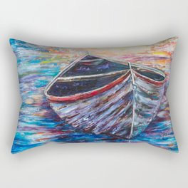 Wooden Boat at Sunrise - original oil painting with palette knife #society6 #decor #boat Rectangular Pillow