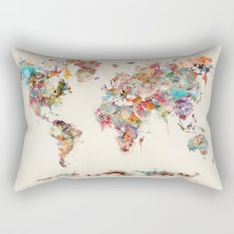 world map watercolor deux Rechteckiges Kissen