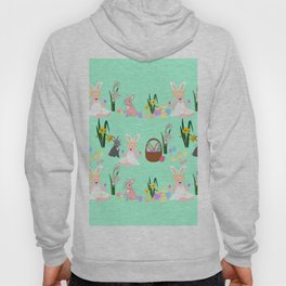 Easter pattern with babies, bunnies, eggs and daffodils Hoody