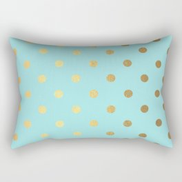 Gold polka dots on aqua background - Luxury turquoise pattern Rectangular Pillow