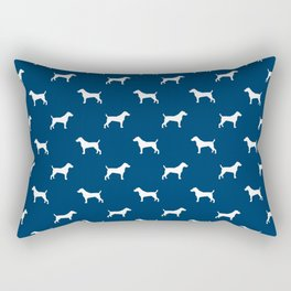 Jack Russell Terrier navy and white minimal dog pattern dog silhouette pattern Rectangular Pillow
