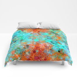 psychedelic geometric circle pattern and square pattern abstract in orange and blue Comforters