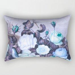 Teal Roses Blue Birds : Temple of Flora Rectangular Pillow