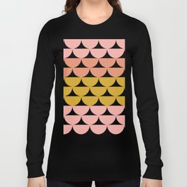 Pretty Geometric Bowls Pattern in Coral and Mustard Long Sleeve T-shirt
