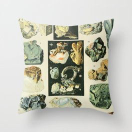 Vintage Minerals Chart Throw Pillow