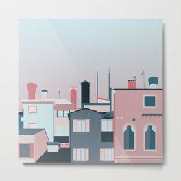 Pink & Blue rooftops Metal Print