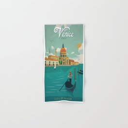 Vintage poster - Venice Hand & Bath Towel