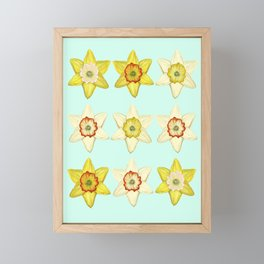 Spring Daffodils on Blue Framed Mini Art Print